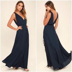 NWOT Lulus Strictly Ballroom Navy Blue Maxi Dress